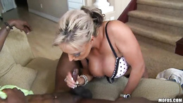 Brooke Jameson milf rubbing the cock of her black guy